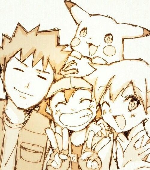 Ash, Brock, Misty, Pikachu, peace signs; Pokemon