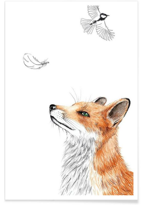 Fox en Affiche premium par Janine Sommer   JUNIQE