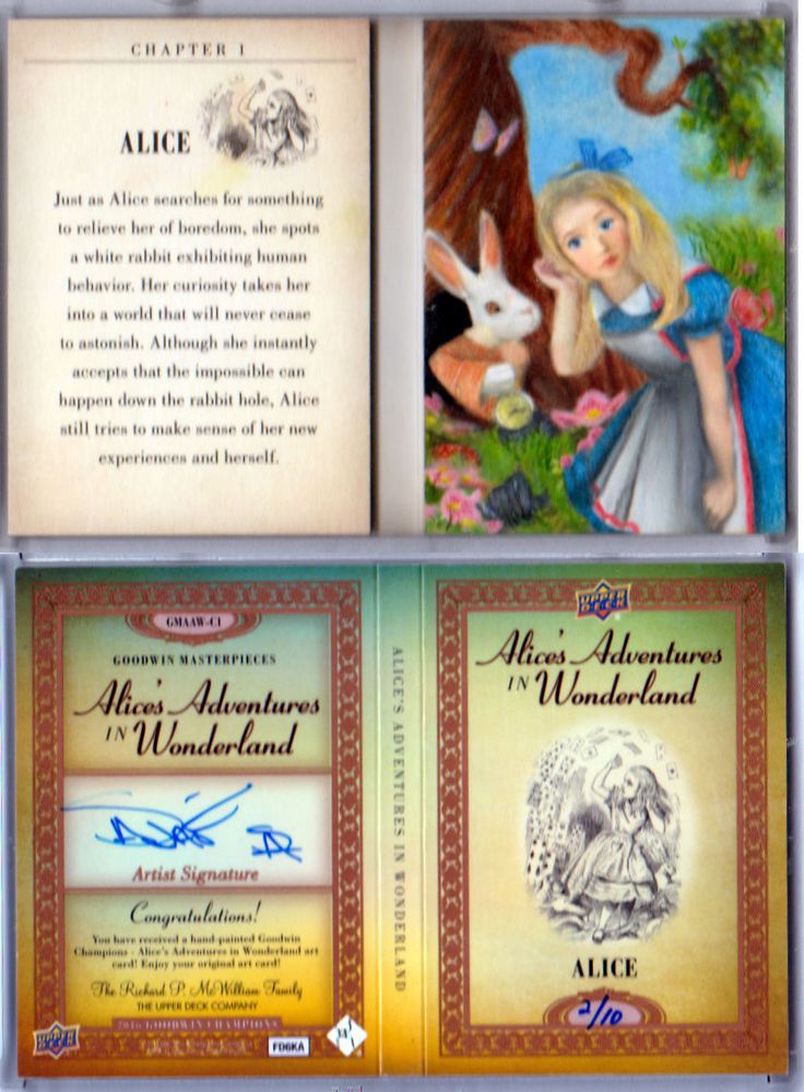 Other Sports Trading Cards 217: 2016 Ud Goodwin Champions Alice! Alice In Wonderland Painted Booklet! 10! -> BUY IT NOW ONLY: $249.95 on eBay!
