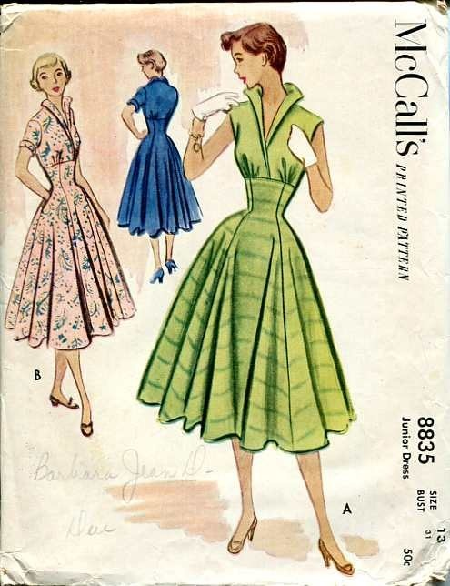 the collar  the fitted waist/Princess seams  McCall's 8835  1950's