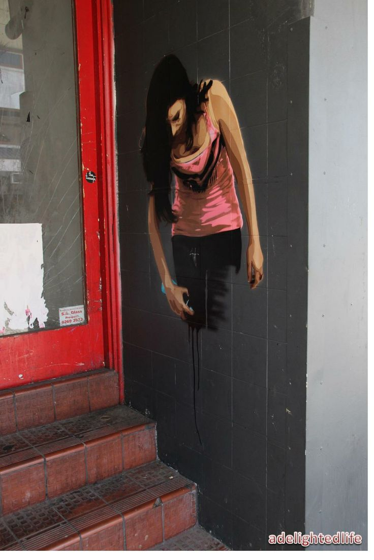 Painted lady, street art, Hindley st, Adelaide.