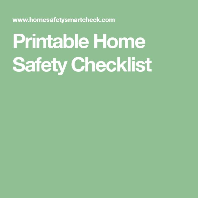 Printable Home Safety Checklist