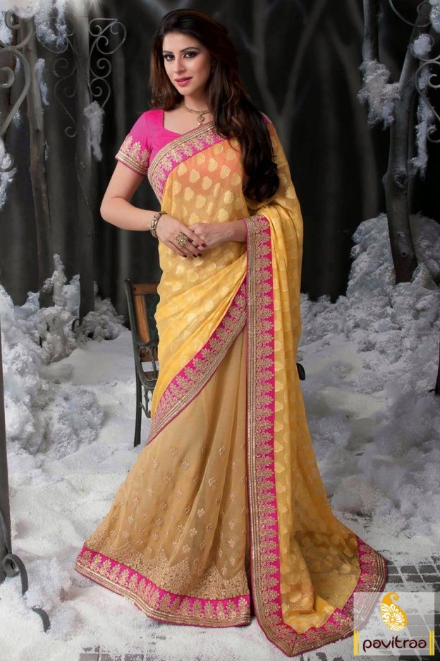 Wonderful pink beige chiffon designer saree with unstitched blouse and standard size matching petticoat will shine yourself with chic butti work and pretty jari border on the dashing chiffon fabric of the attire.  #saree, #designersaree, #buysaree, #onlinesaree, #partywearsaree, #weddingsaree, #purchasesaree, #embroiderysarees, #bridalsarees, #sareesonlineshopping,  #onlinesarees, #heavysarees, #lehenghasaree