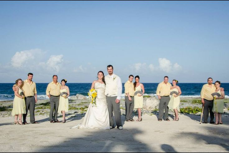 Yellow and grey wedding party. #Yellowdress with #greyfanbouquet and grey shoes.