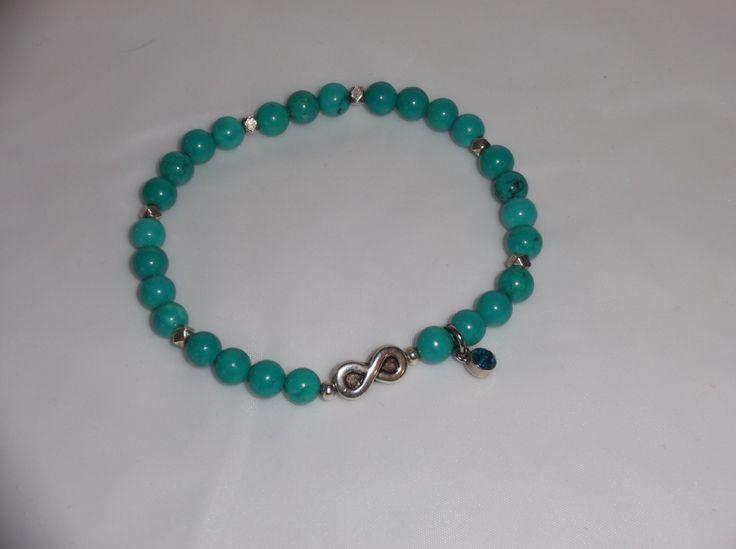 6MM,Natural Turquoise Gemstone Infinity Healing Bracelet-Stretch Bracelet,Yoga Bracelet by HealingAuras on Etsy