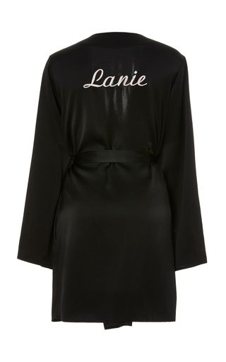 This **Morgan Lane** Langley Robe is rendered in silk and features a silk printed waist tie and white monograms.