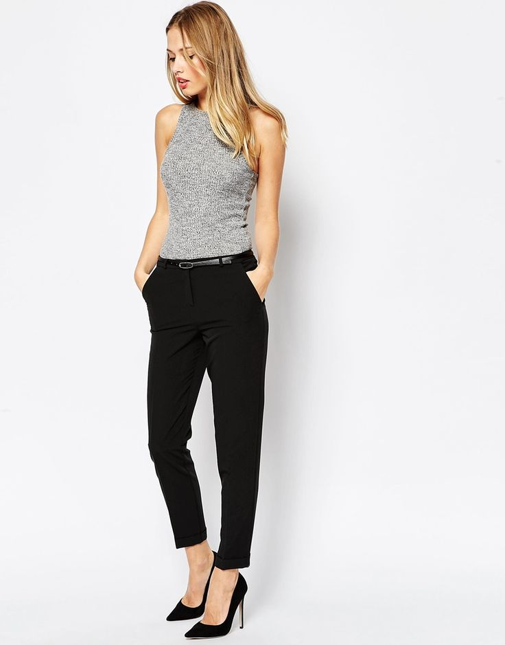 Image 1 - ASOS - Pantalon cigarette avec ceinture