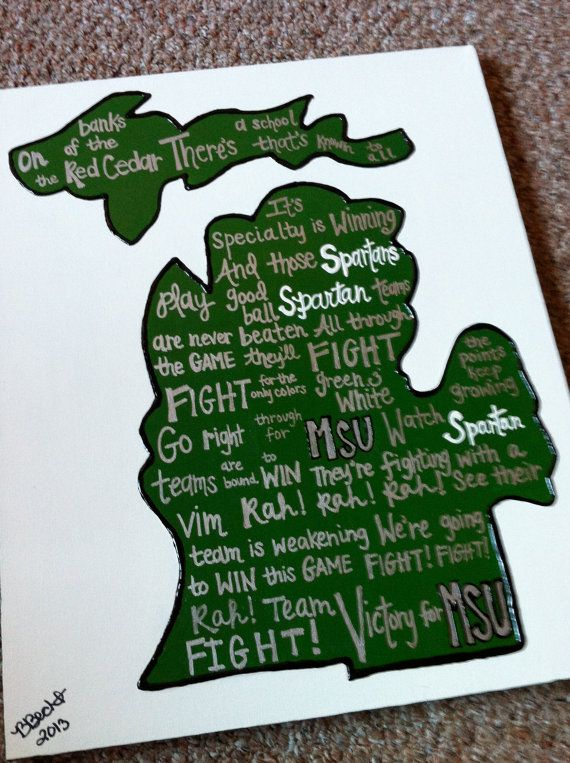 MSU Fight Song with acrylic paint on canvas. @Krysten Fitch you NEED this!