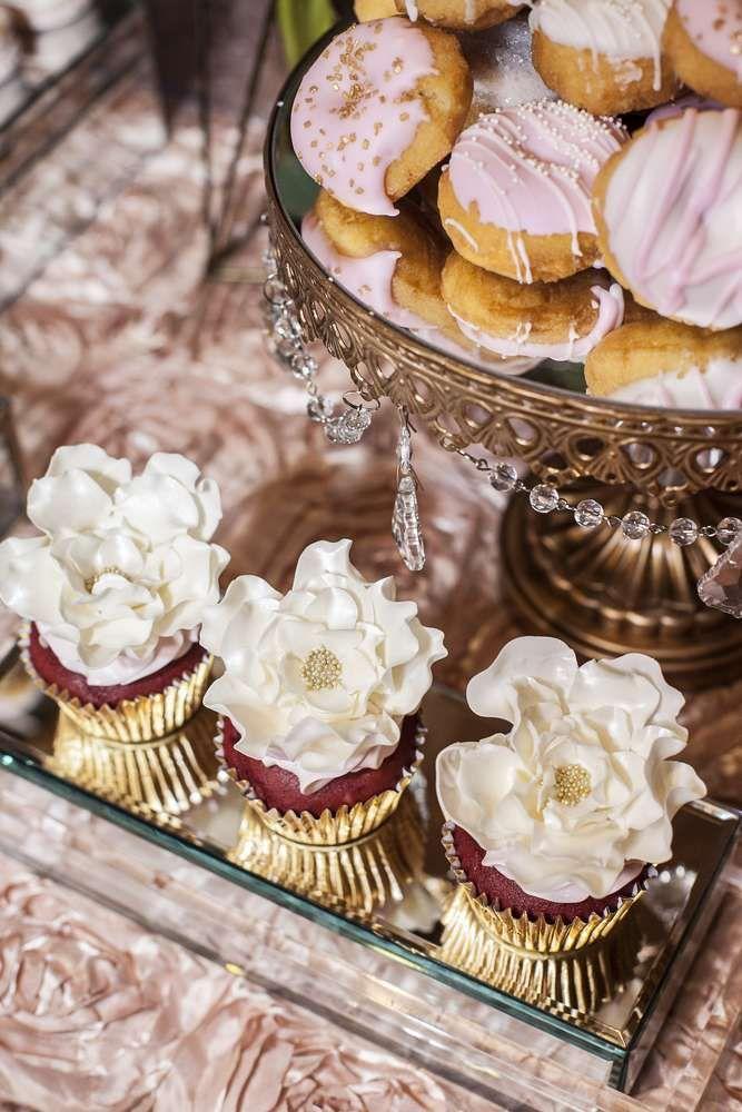 cupcake recipes for bridal shower%0A Rustic Elegance Blush Dessert Table Bridal Wedding Shower Party Ideas