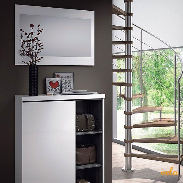 Recibidor zapatero con espejo, acabado blanco brillo y ceniza, medidas 79 x 108 x 25 cm mas espejo. Aprovecha!
