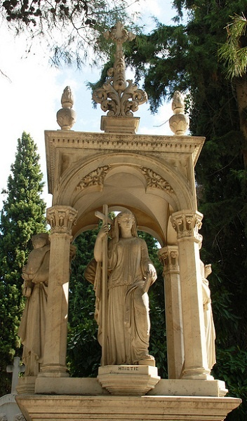 Marker- Tower with Statues of Women, First Cemetery of Athens photo: Monceau http://www.thefuneralsource.org/cemloc.html