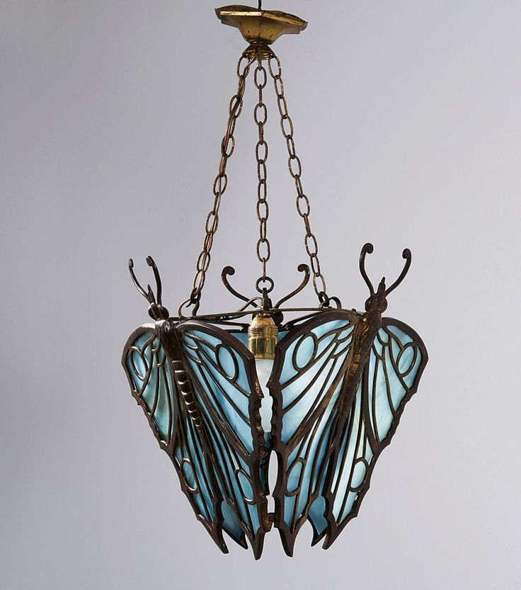 Vienna (attributed). Butterflies ceiling light c1912 H. 65 cm; 42 x 42 cm Bronze, patina, opal blue glass. Art Déco metal, brass, pewter, copper, plated