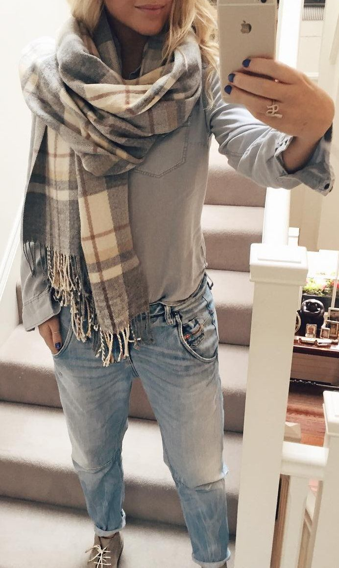 #fall #outfits · Printed Scarf // Grey Sweater // Jeans