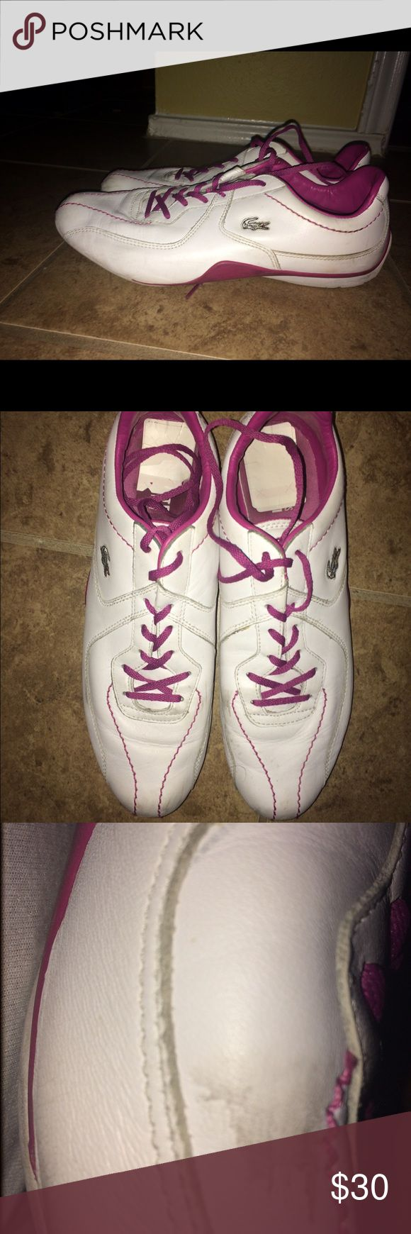 🎄Sale White Lacoste Sneakers Size: 11🎄 White Lacoste Sneakers Size: 11  Some Marks; Taking offers Lacoste Shoes Sneakers