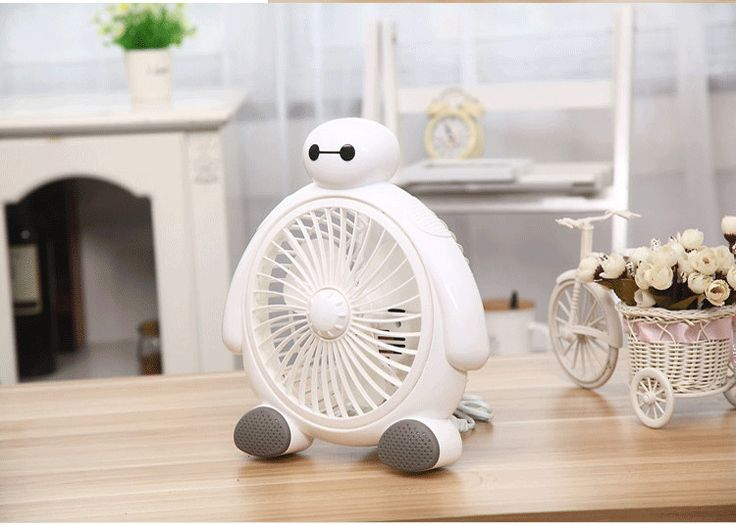 Portable Mini Desk Fan Creative Home Office ABS Electric Fans Silent Desktop Fan With Cute BayMax Style Care your Summur