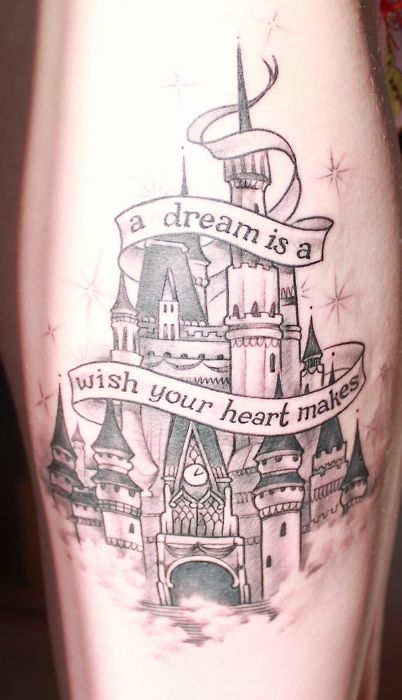 @ Kirbycopelin I decided my perfect tattoo would be cinderella's castle with the Mexican flag waving from the tallest turret. With a cat sitting out front..