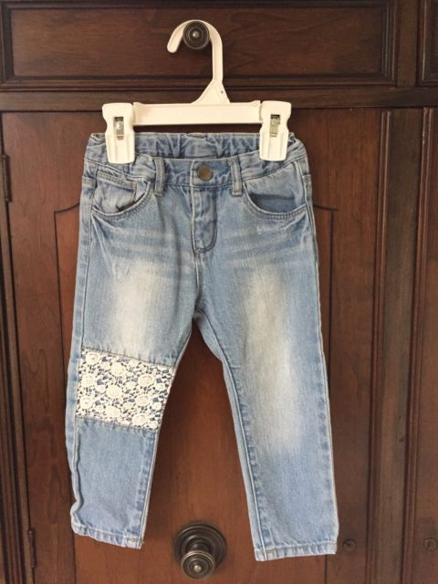 Zara Baby Girl Denim Jeans 12-18 Months Light Wash Cotton Lace Patches | eBay