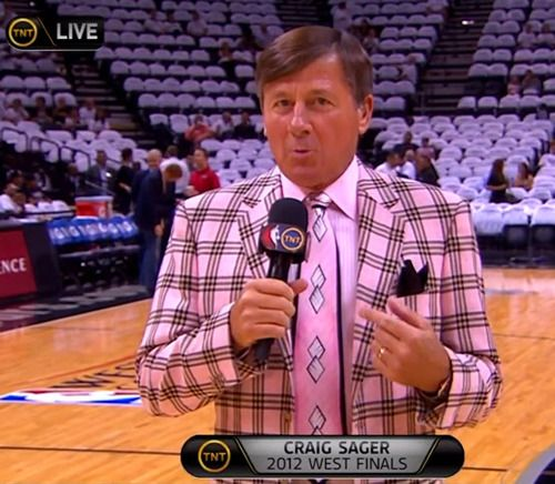Craig Sager Pink Plaid Suite. *Get paid for your sports passion at www.sportsblog.com