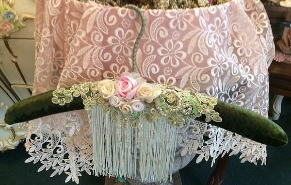 Our original design, exquisite Victorian Lace Hangers are lovely for hanging your vintage dresses, wedding gowns, bridesmaids gowns, shawls or to layer accessories. A perfect substitute if you don't have room for a dress form! Great gift idea for that special bride. One of a Kind!  USA MADE