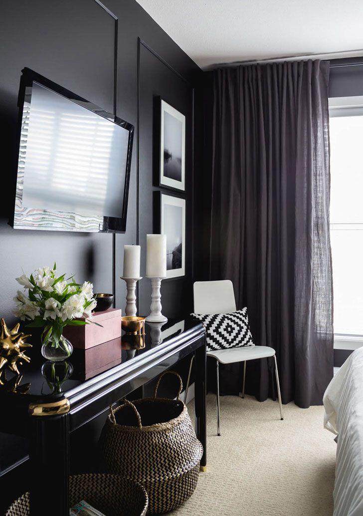 Стильная женская спальня в черном | Пуфик - блог о дизайне интерьера