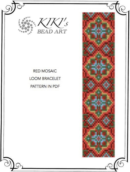 Red mosaic LOOM bracelet pattern in PDF - instant download