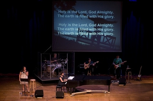 Chapel at Anderson University begins with worship from various musical groups on campus and student, faculty and staff leaders.