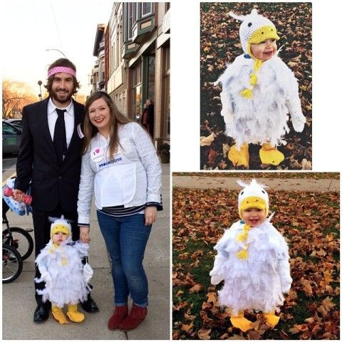 Insurance family costume: Flo from Progressive, Mayhem from Allstate, and the Aflac duck