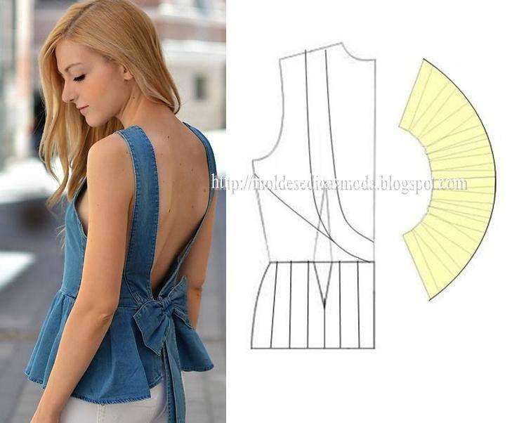 Modelagem de blusa frente única com peplum, parte2. Fonte: https://www.facebook.com/photo.php?fbid=705263912835883&set=a.262773027084976.75978.143734568988823&type=1&theater