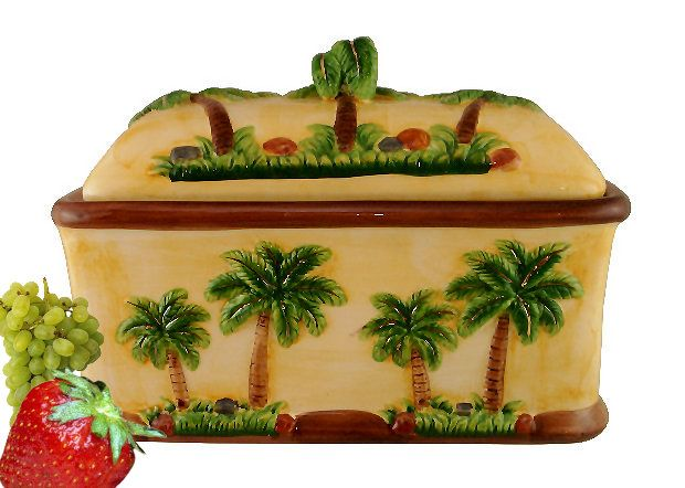 Palm tree kitchen theme bread box 3 d palm tree decor for Tropical themed kitchen