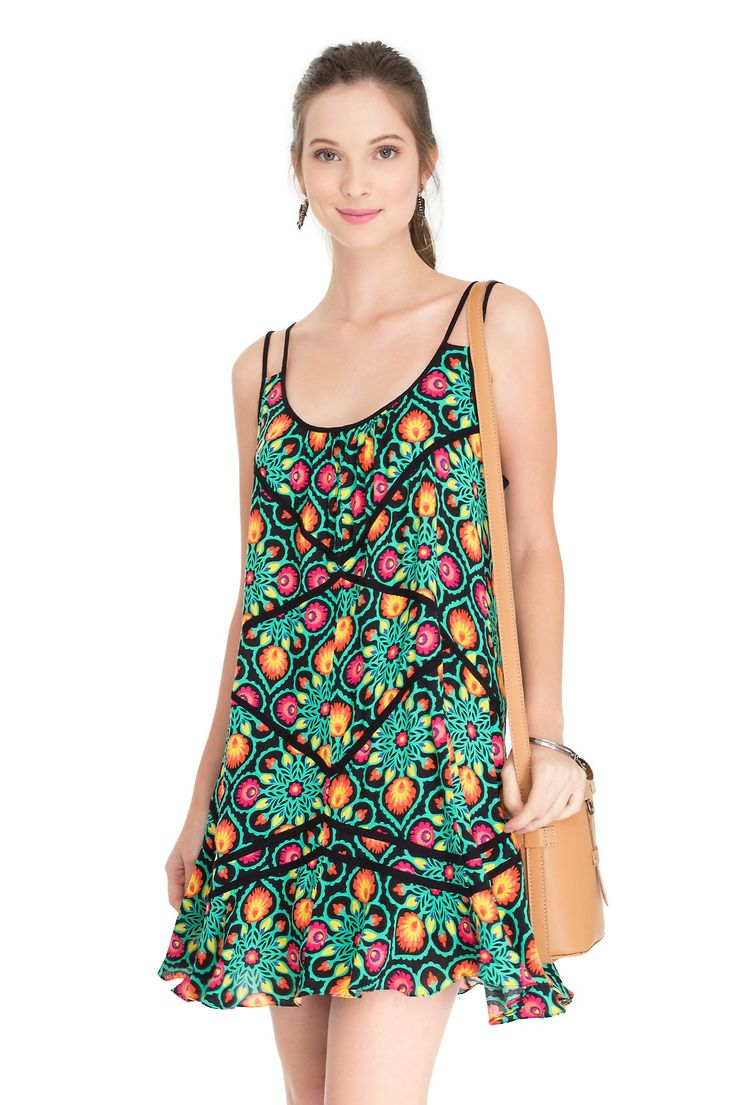 vestido estampa tapeçaria detalhe viés - Vestidos | Dress to