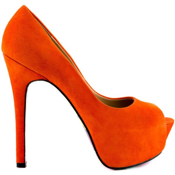 Taylor Says Women's Reva - Orange Suede featuring polyvore, fashion, shoes, pumps, heels, zapatos, high heels, orange, platform stiletto pumps, orange peep toe pumps, platform shoes, heels stilettos and orange pumps