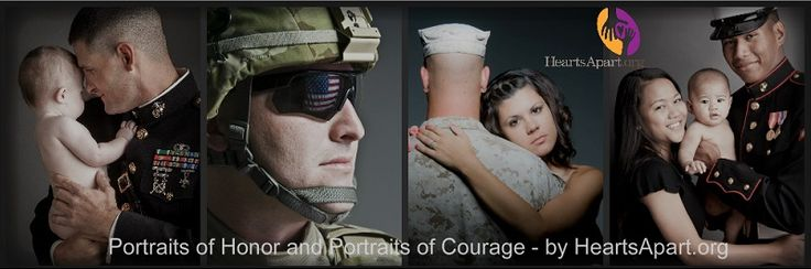 HeartsApart.org offers at NO COST to the military family pre-deployment portrait sessions for the service member, their spouse and children. The service member receives a waterproof photo bi-fold that is designed to fit comfortably in their uniform pocket during deployment and the family receives the pictures on a portrait DVD with full reproduction rights to the photos.