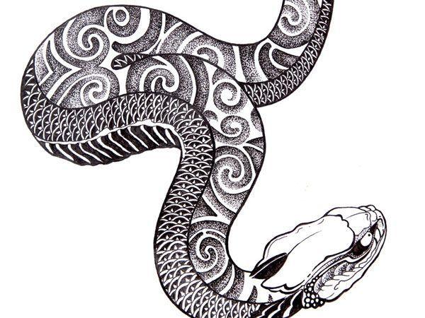 … Snake Tattoo Flash Experiment 3. Dotwork Ish Chinesische Schlangentätowierung