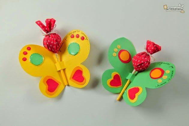 ESPAÇO EDUCAR: Lembrancinha para dia das crianças: borboleta com pirulito