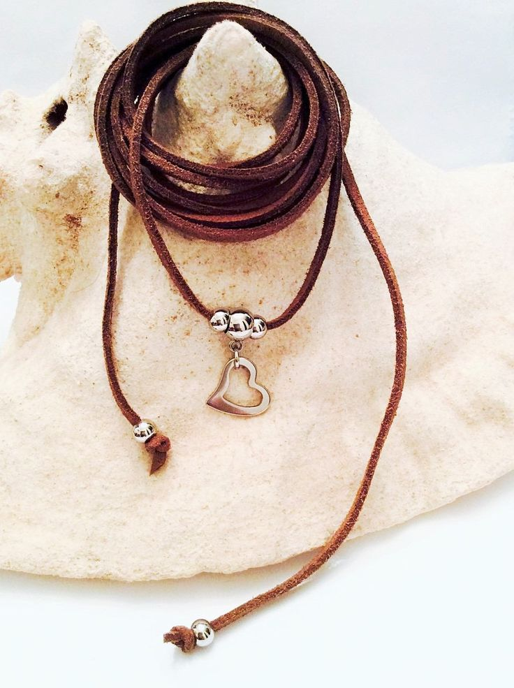 Heart Choker Necklace - Wrap Necklace - Stainless Steel choker necklace - Brown lariat - Country Western - Bohemian - Free Shipping