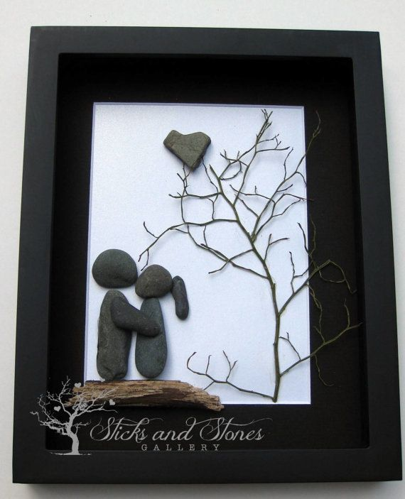 Pebble Art Couple's Gift  Unique Couple's Gift  by SticksnStone