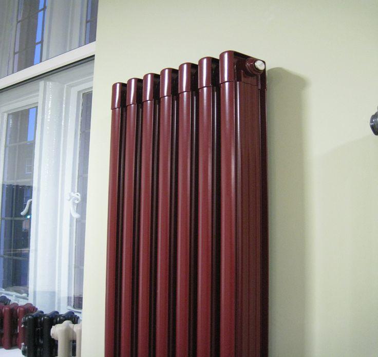 Retro Vertical Aluminium Radiator In Ral 3004 Purple Red