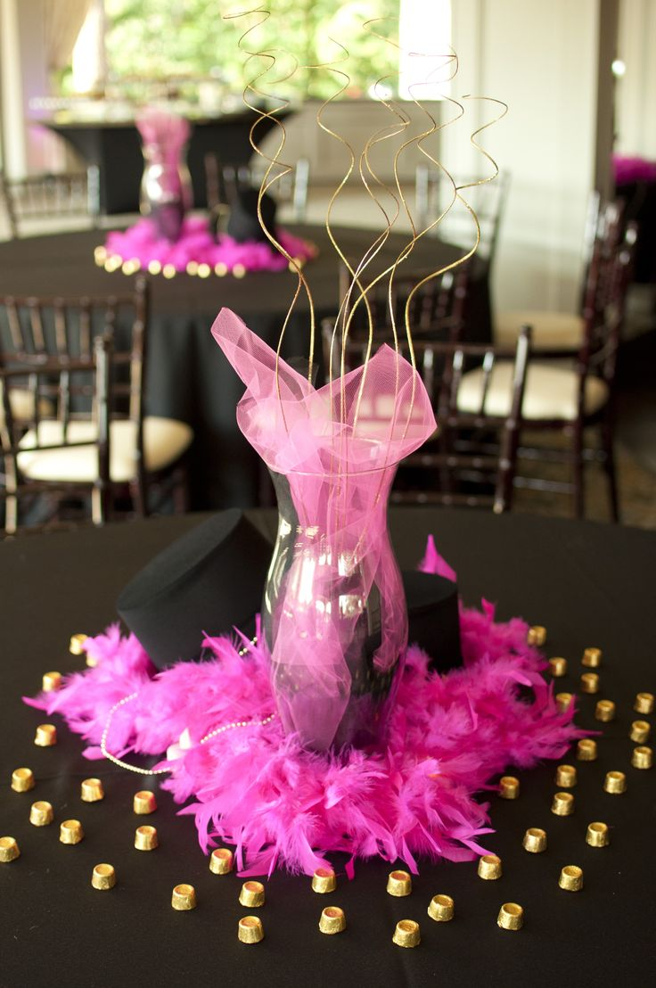 #centerpiece #partydecorations #pinkparty #blackparty # ...