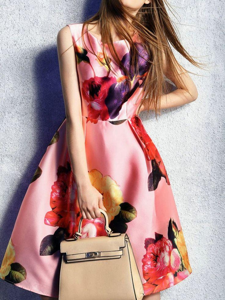 pink dress,floral dress,print dress,vest dress,skater dress