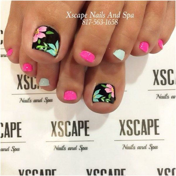 Pink, Black and Pastel Green Floral Toe Nail Design.