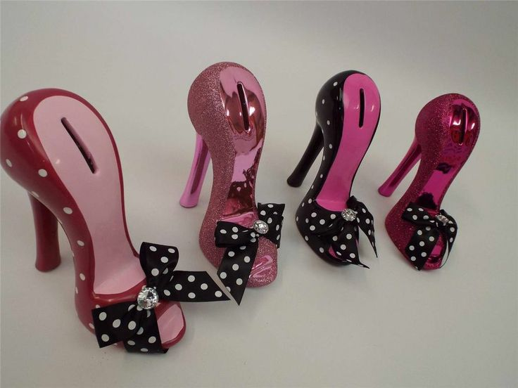High Heel Shoe Money Bank Pink Black Ceramic Cute Girls