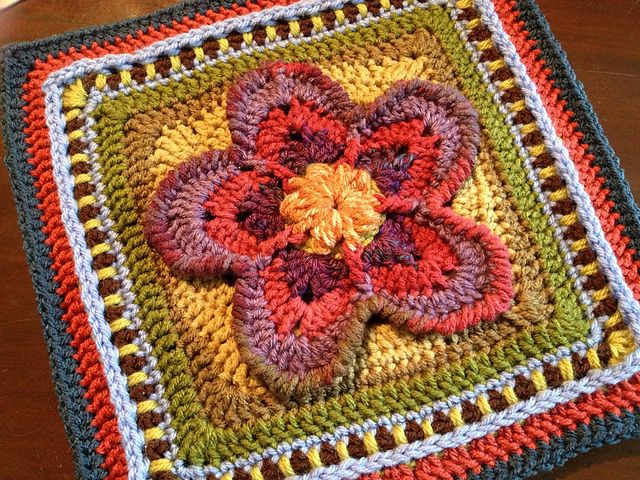 "Ravelry: Strawberry Blossom Afghan Square 12"" pattern by Julie Yeager ~ free pattern"