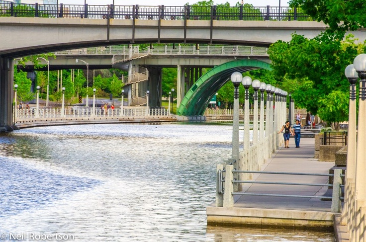 The Rideau Canal, Ontario's only UNESCO World Heritage Site as seen from downtown Ottawa, Canada. For more information on capital sites and Canadian heritage visit http://www.ottawatourism.ca/en/visitors/what-to-do/capital-heritage