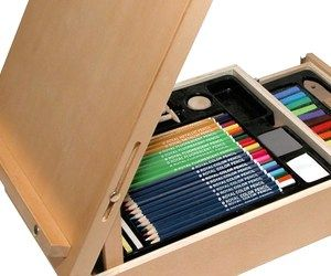 This wooden case turns into an easel and comes with everything you need to make beautiful art. It comes with pretty pastels, vibrant color pencils, bright fluorescent and metalic pencils, watercolors, charcoal penicils, graphite, and much, much more.