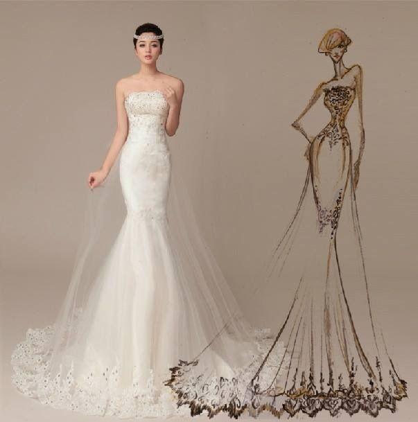 Lovely Mermaid Tail Wedding Dress