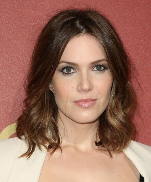 Mandy Moore Hairstyle - Medium Wavy Casual - Medium Brunette. Click on the image to try on this hairstyle and view styling steps!