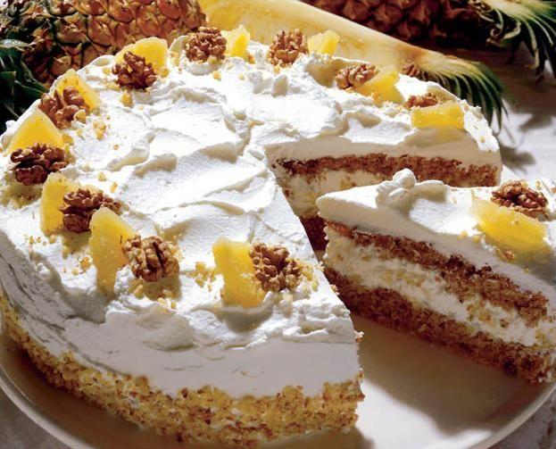 cake Tort de nuci cu ananas | Retete culinare - Romanesti si din Bucataria internationala
