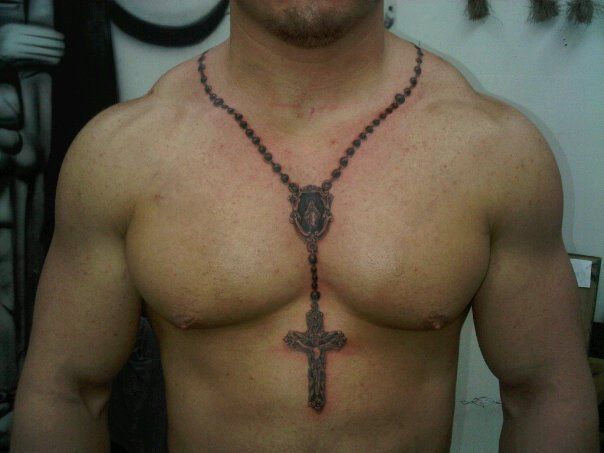 Chest Neck Rosary Tattoo by Outsiders Ink