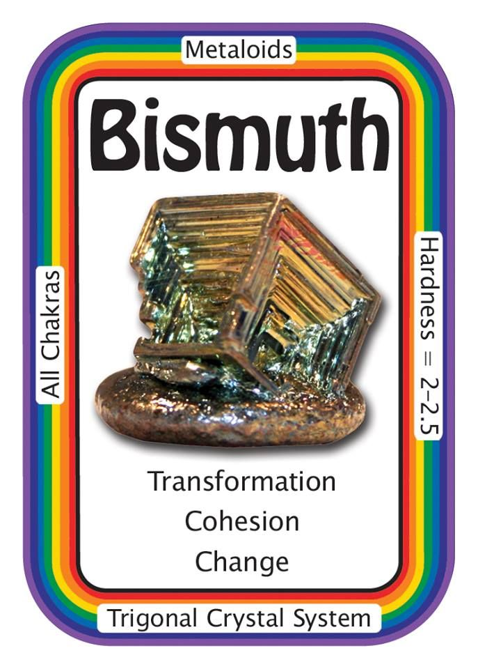 "Crystal Card of the Day: Bismuth, ""I AM Complete."" Bismuth is a crystalline, brittle metal that is silvery-white with an iridescent hue. As an elemental metal, its number is 83 on the Periodic Table. Rainbow colored Bismuth can be a wonderful stone to use for focus, visualization and shamanic journeying. It can prevent you from becoming overwhelmed by all of your responsibilities while at the same time increasing your energy levels to deal with them. Bismuth relieves feelings of loneliness…"