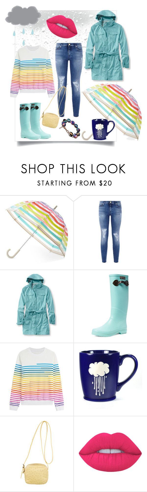 """""""Rain🌧"""" by mahshid-afshar ❤ liked on Polyvore featuring Kate Spade, 7 For All Mankind, L.L.Bean, Aigle, Mary Katrantzou, The Row and Lime Crime"""